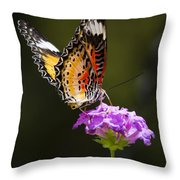 Malay Lacewing On A Flower  Throw Pillow