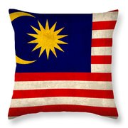 Malaysia Flag Vintage Distressed Finish Throw Pillow