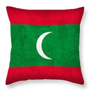 Maldives Flag Vintage Distressed Finish Throw Pillow