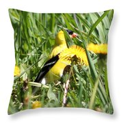 Male American Goldfinch Camouflage Throw Pillow