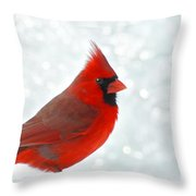 Male Cardinal In The Snow - Digital Paint Throw Pillow