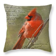 Male Cardinal On Twigs With Bible Verse Throw Pillow