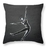 Male Dancer In White Lines On Black Throw Pillow