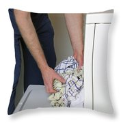Male Doing Laundry Throw Pillow