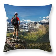 Male Hiker Standing On Top Of Mountain Throw Pillow