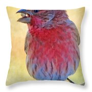Male Housefinch - Digital Paint Throw Pillow