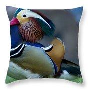 Male Mandarin Duck-signed-#8301 Throw Pillow