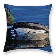 Male Merganser Throw Pillow