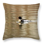 Male Red Breasted Merganser At Sunrise Throw Pillow