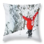 Male Skier Throws His Hands Throw Pillow