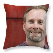 Male Smiling Throw Pillow