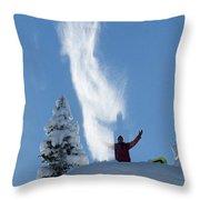 Male Snowboarder Throwing Powder Throw Pillow