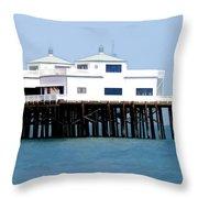 Malibu Pier On A California Blue Sky Day Throw Pillow