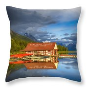 Maligne Boat House Throw Pillow