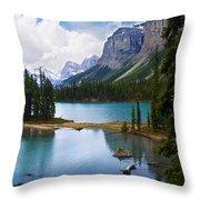 Maligne Lake And Spirit Island Throw Pillow