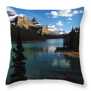 Maligne Lake Beauty Of The Canadian Rocky Mountains Throw Pillow