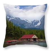 Maligne Lake In The Canadian Rockies Throw Pillow