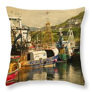 Mallaig Harbourside  Throw Pillow