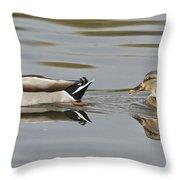 Mallard Drake And Hen Throw Pillow