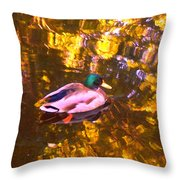 Mallard Duck On Pond 1 Throw Pillow