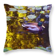 Mallard Duck On Pond 2 Throw Pillow