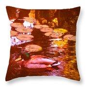 Mallard Duck On Pond 3 Square Throw Pillow