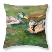 Mallard Ducks With Spawning Salmon Throw Pillow