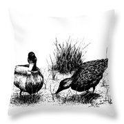 Mallards In The Marsh Throw Pillow