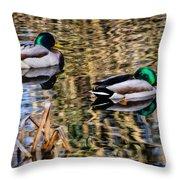 Mallards In The Reeds Throw Pillow