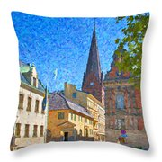 Malmo Stortorget Painting Throw Pillow