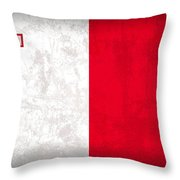 Malta Flag Vintage Distressed Finish Throw Pillow