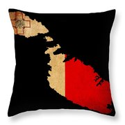 Malta Grunge Map Outline With Flag Throw Pillow
