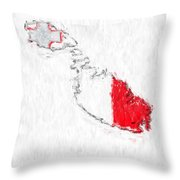 Malta Painted Flag Map Throw Pillow