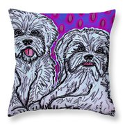 Maltese Duo Pink Bg Throw Pillow