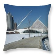 Mam In Winter With Jogger Throw Pillow