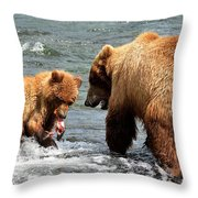 Mama And Baby Grizzly Bear At The Falls Throw Pillow