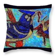 Mama Bird Feeding Baby Bird Throw Pillow