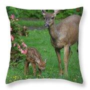 Mama Deer And Baby Bambi Throw Pillow