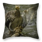 Mama Duck Protecting Her Babies Throw Pillow