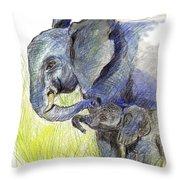 Mama Elephant And Calf Throw Pillow
