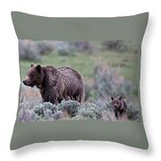 Mama Grizzly Guiding Cub Throw Pillow