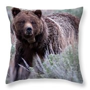 Mama Grizzly Throw Pillow