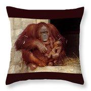 Mama N Baby Orangutan - 54 Throw Pillow