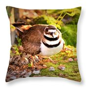 Mama Protecting Eggs Throw Pillow