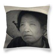 Mama San Pleiku Central Highlands Vietnam 1968 Throw Pillow