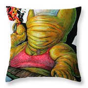 Mama Thune Tossing Cheeseburgers At Crummy Boo Boo And Booger Bear Throw Pillow