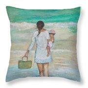 Mama's Beach Day Throw Pillow