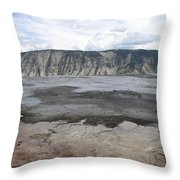 Mammoth Hot Spring Landscape Throw Pillow