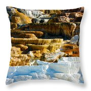 Mammoth Hot Springs Rock Formation No1 Throw Pillow