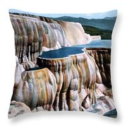 Mammoth Hot Springs Yellowstone Np Throw Pillow